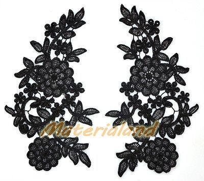 PAIR of Black Guipure Venise Lace Applique Trims Flower Motif Craft #VL14A
