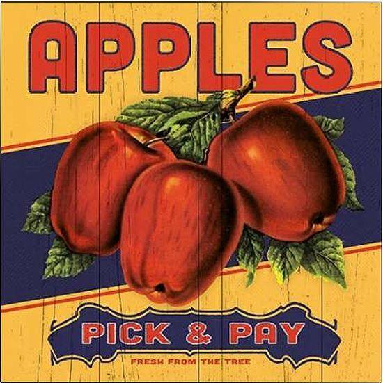 Stephanie Marrott: Apple Label Keilrahmen-Bild Leinwand Obst Küche Esszimmer