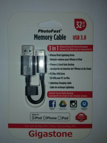 Apple Lightning 32GB di memoria USB 3 Cavo Per iPhone iPad e iPod NUOVO da GIGASTONE
