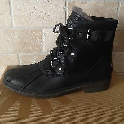 20e6d5a5c43 UGG CECILE BLACK LEATHER WATERPROOF SHEEPSKIN DUCK ANKLE BOOTS SIZE 7.5  WOMENS | eBay