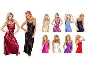 Dkaren-Sexy-Long-Silk-Satin-Chemise-Lingerie-Nightdress-Slip-Nightwear