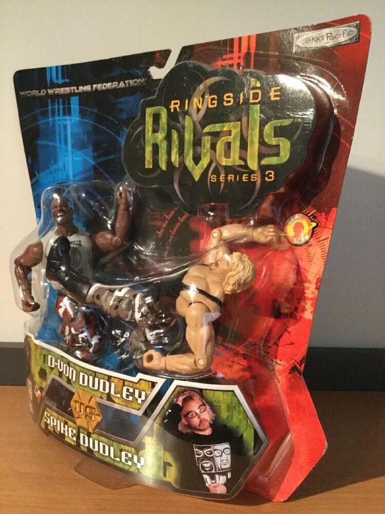 MOC WWF WWE Ringside Rivals Series 3  D-Von Dudley Vs Spike Dudley Jakks 2002