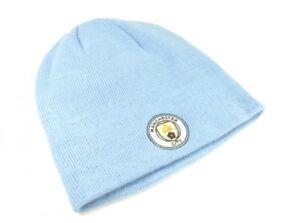 44f1f25f526 Manchester City FC Sky Blue Beanie Hat Football NEW Club Badge Crest ...