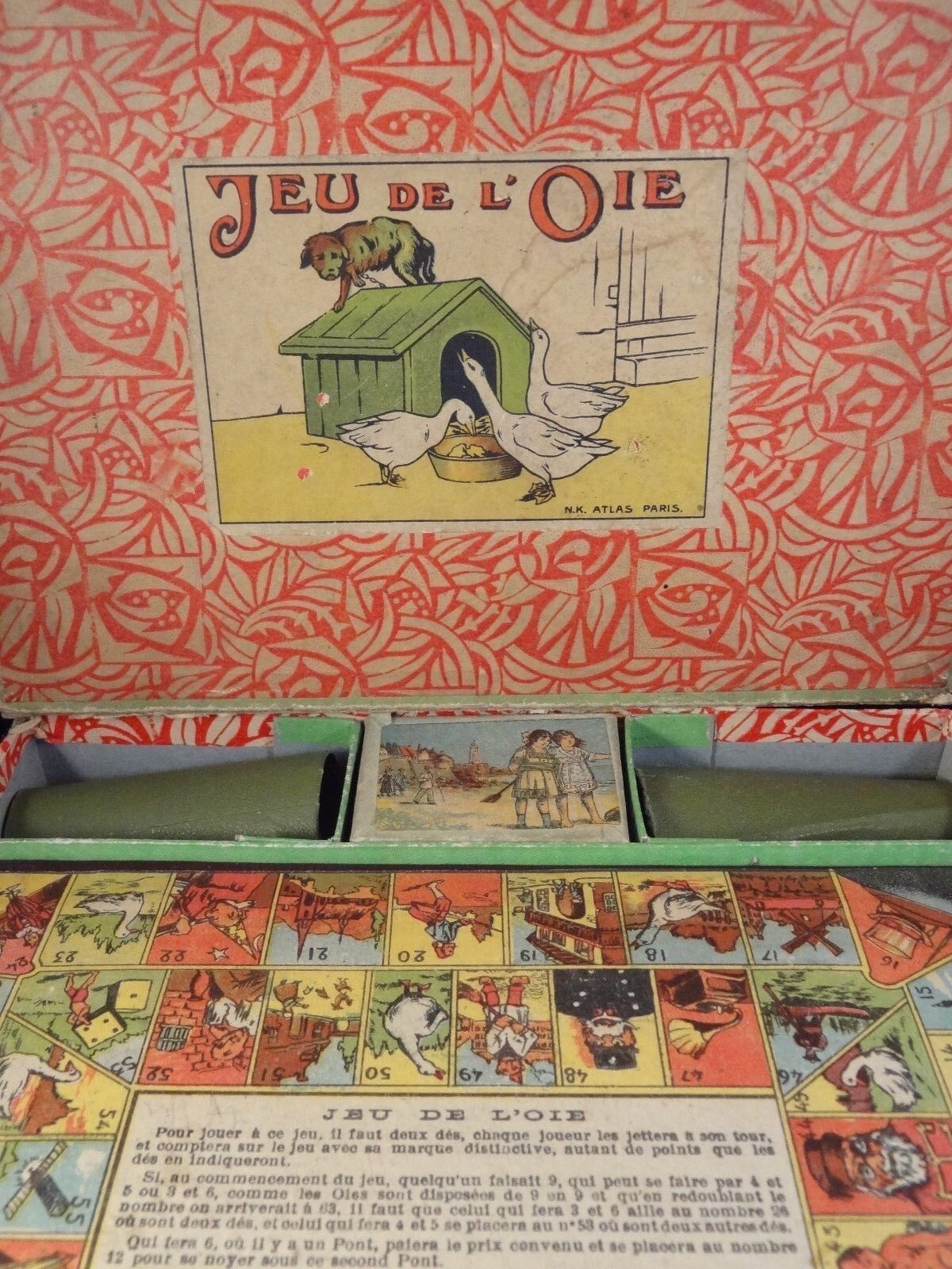 RARE ancien jouet coffret jeu de l'oie l'oie l'oie N.K ATLAS PARIS 1910/20 Made in France 1a3d7d