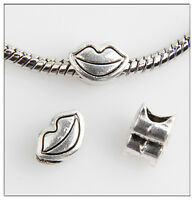 50pcs lips Tibetan Silver Bead Fit European Charm Bracelet Findings