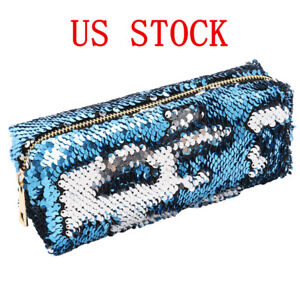Image is loading Magic-Mermaid-Sequin-Cosmetic-Pouch-Glitter-Pencil-Case- 8963b1bfe44a