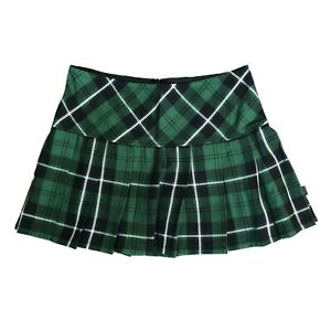 Tripp NYC Gothic Punk Green Tartan Plaid School Girl Elf Mini Skirt Size XXL 2X
