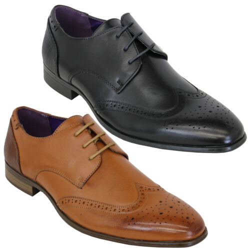 Mens Brogue Italian Shoes Leather Look Lace Up Pointed Formal Smart Casual New