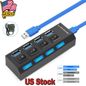 4-Ports-Powered-USB-3-0-HUB-Splitter-Box-5Gbps-Super-External-AC-Power-Adapter