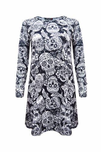 Women Ladies Black Skeleton Skull Dress For Halloween Party Adult Size Costume