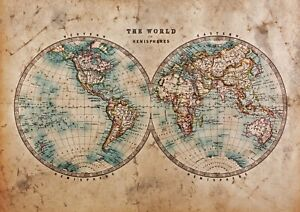A4-Cool-World-Hemispheres-Poster-Print-Size-A4-Vintage-Pap-Poster-Gift-14392