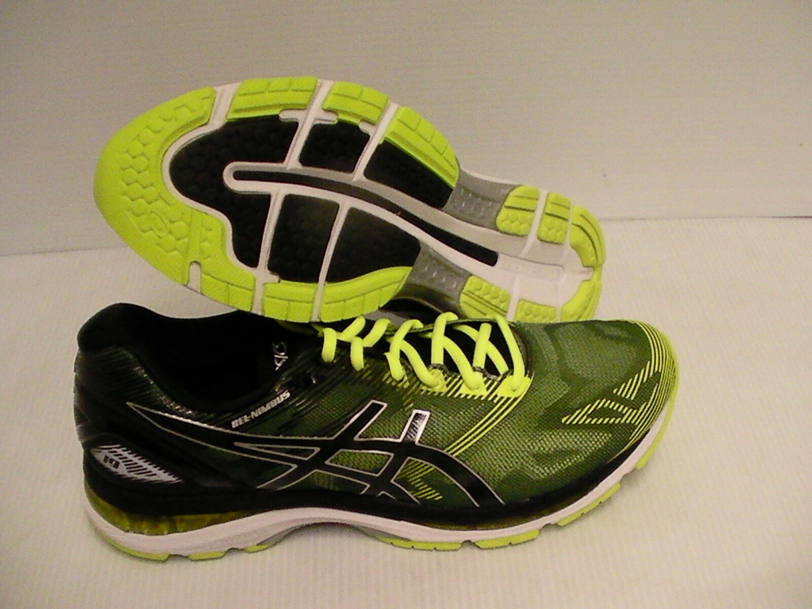Asics men's gel nimbus 19 running shoes black safety yellow silver size 8 us