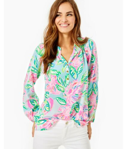 NEW AUTH LILLY PULITZER ELSA SILK TOP Multi Totally Blossom