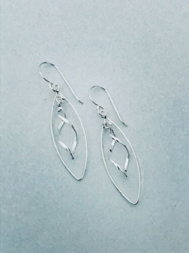925 Sterling Silver Oval Wired With Twisted Drop Earrings