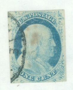 US-9 BEN FRANKLIN 1c ISSUED 1851-57 CANCELLED IMPERF