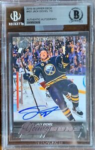 2015-2016-UPPER-DECK-Jack-Eichel-AUTO-BGS-YOUNG-GUNS-RC-ROOKIE-LEAF-BUYBACKS-DNA