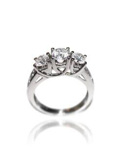 Genuine-3-Three-Stone-1-25-Diamond-Engagement-Ring-S12-H-White-Gold-Band