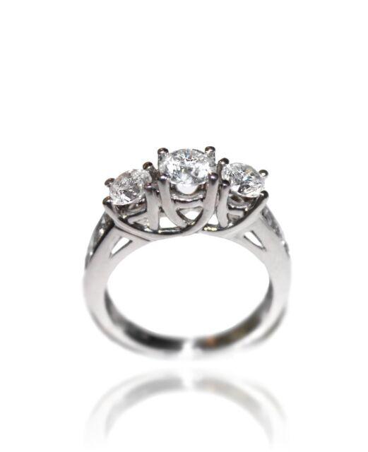 Genuine 3 Three Stone 1.25 Diamond Engagement Ring S12 - H White Gold Band