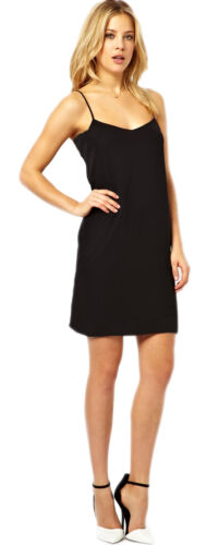 New size 10 12 14  Black Swing Dress Strappy Cami Top Plain New Top Girls *LICK*