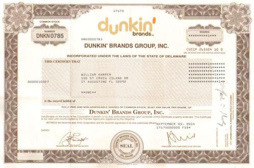 /> Dunkin Donuts Baskin Robbins stock certificate Dunkin Brands Group Inc