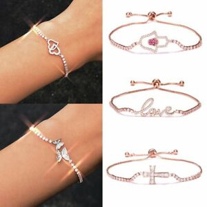 Rose-Gold-Women-039-s-Rhinestone-Crystal-Bracelets-Adjustable-Bangle-Jewelry-Gift