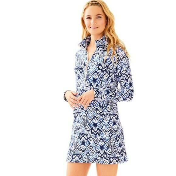 Lilly Pulitzer Skipper UPF 50 Beckon Blue Oh My Cod Popover French Terry Dress