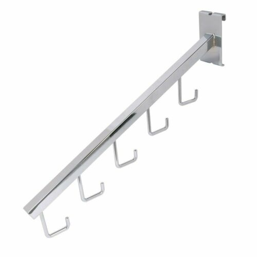 """Gridwall 5 J Hook Waterfall 18/"""" L Square Tube Faceout Chrome Black White"""