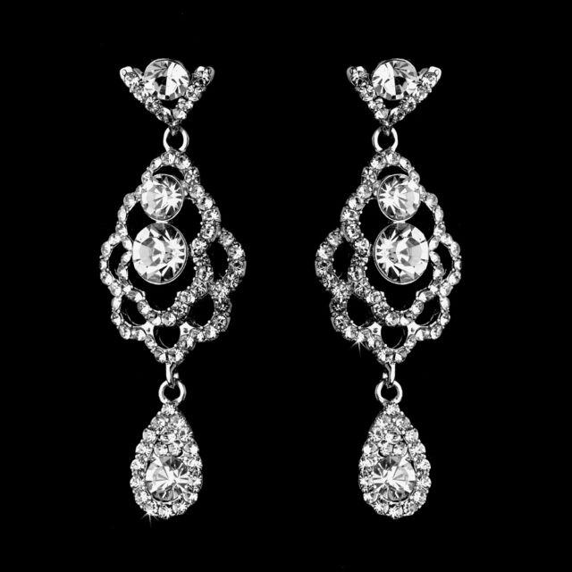 62949407c76bdd Large Diamante Rhinestones Crystal Silver Earrings for sale online ...