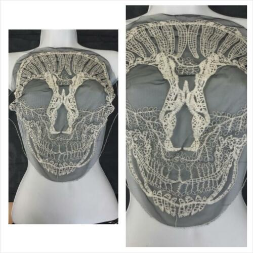 C21 Grand Halloween Custom 1 Noir brodé ivoire Crâne Large Tulle Applique
