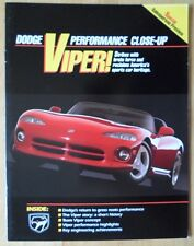 DODGE VIPER RT/10 Roadster rare sales persons preview brochure 1991