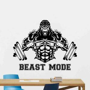 Details About Beast Mode Sign Wall Decal Gorilla Barbell Vinyl Sticker Gym Poster Decor 1084