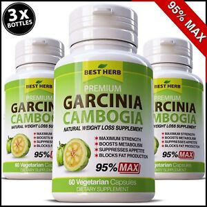 Details About 180 X Capsules 3000mg Daily Garcinia Cambogia Max 95 Weight Loss Diet 100 Pure