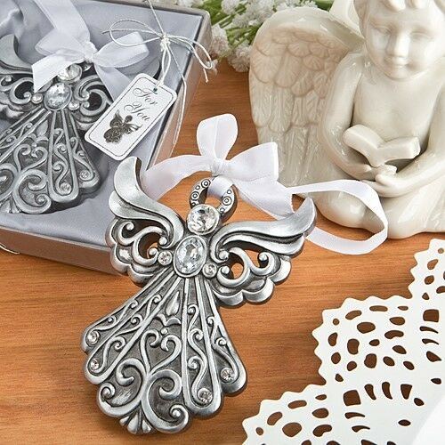 20 Antique Silver Cross Ornament Christening Baptism Baby Shower Party Favors