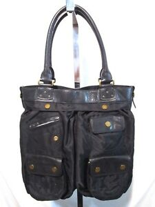 Image Is Loading Lauren Ralph Black Nylon Amp Leather Large