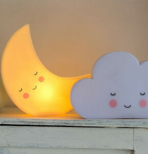 nachtlicht mond wolke led kinderzimmer baby lampe tischlampe nacht night light ebay. Black Bedroom Furniture Sets. Home Design Ideas