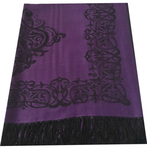 Damask Design Reversible Shawl Scarf Wrap Pashmina Warm Soft SilkyTouch Gift