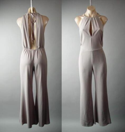 Minimalist Neutral Backless Flare Wide Leg Dress Pant Jumper 281 mv Jumpsuit S L