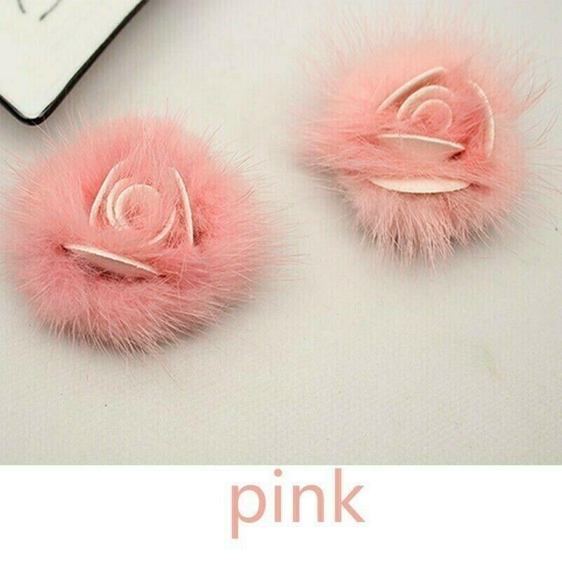 1 Pair Mink Fur Pom Pom Shoe Decor Fluffy Decor Boots Hat Cap Bag Decoration New
