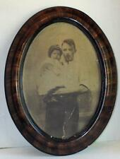 Large Antique Oval Faux Tiger Wood Frame Father Daughter Portrait No Glass