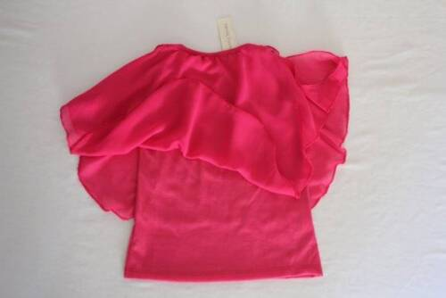 NEW Girls Dressy Top Small 6-6X Batwing Open Shoulder Pink Sheer Layered Shirt