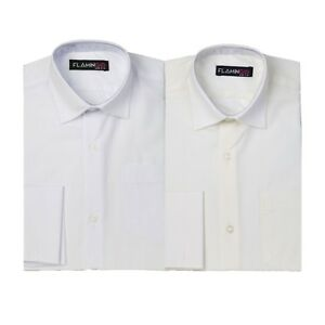 Flamingo Page Boys Double Cuff Classic Collar Ivory Shirt with Cufflinks