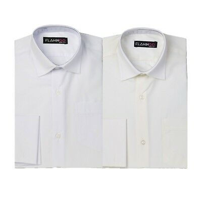 Wedding Page Boys Formal White Striped Kids Classic Collar Shirt with Cufflinks