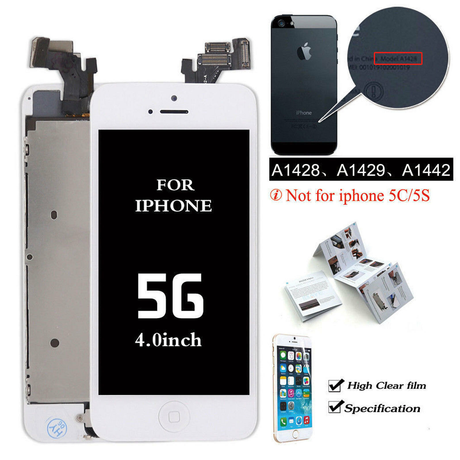 Astounding For Iphone 5 Se 5S Screen Replacement Lcd Touch Digitizer Button Camera Assembly Gmtry Best Dining Table And Chair Ideas Images Gmtryco