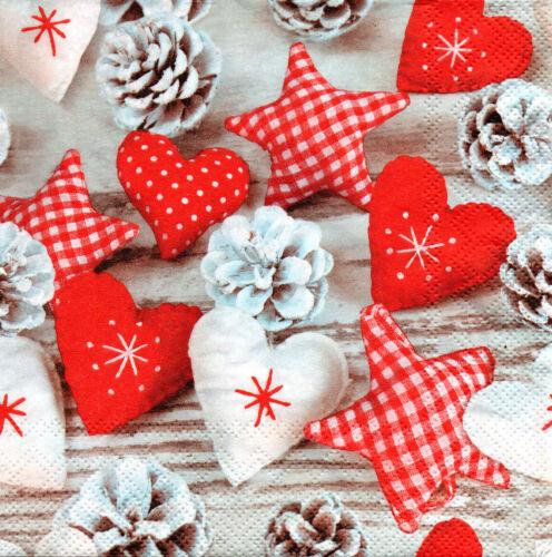 4 Motivservietten Servietten Napkins Weihnachten Stoffherzen Stoffsterne 578