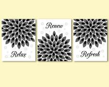 3 prints, modern art for bathroom wall decor - flowers, black and white, grey