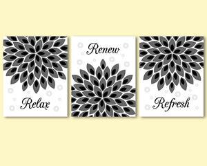 3 prints modern art for bathroom wall decor flowers. Black Bedroom Furniture Sets. Home Design Ideas