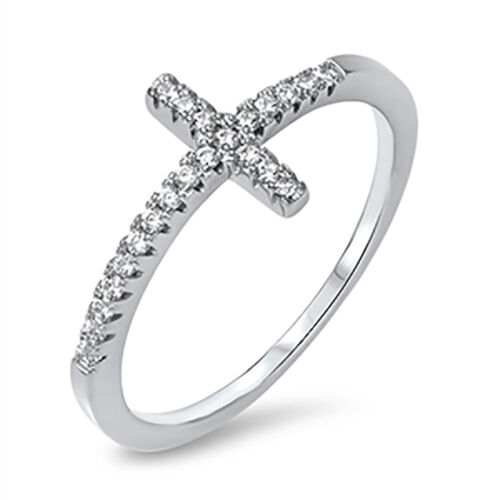Sterling Silver .925 CZ Women/'s Sideways Cross Crucifix Fashion Ring Sz 4-10