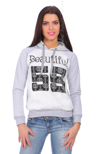 Womens Quilted Hoodie Beautiful Print Warm Sweatshirt Pullover Size 8-14 FZ63