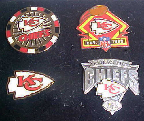 Set of 4 Kansas City Chiefs Logo Collector Pins  PDI