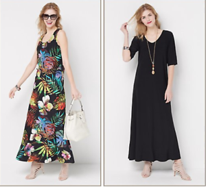 Attitudes-by-Renee-Regular-Set-of-2-Printed-amp-Solid-Maxi-Dresses-Tropical-XXS